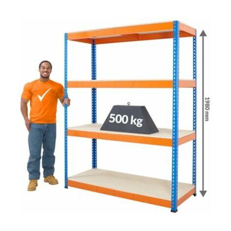 Schwerlastregal | HxBxT 1980 x 2440 x 610 mm | 500 kg Traglast pro Ebene |