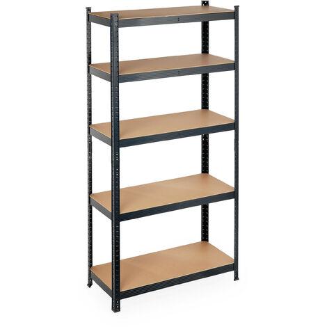 Schwerlastregal, Traglast 875 kg, 5 Ebenen, zum Stecken, Keller, Garage, Stahl, HBT: 180 x 90 x 40 cm, schwarz