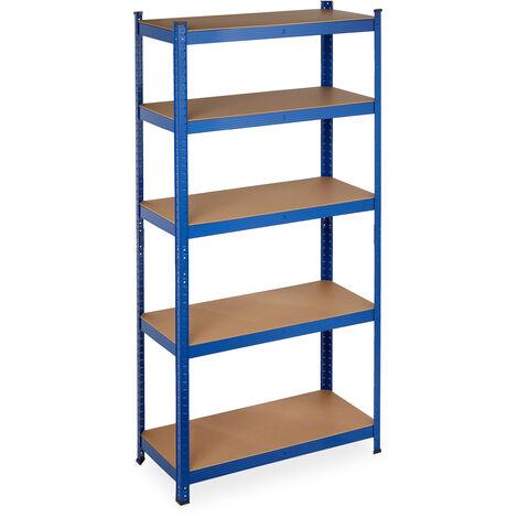 Schwerlastregal, Traglast 875 kg, 5 Ebenen, zum Stecken, Keller, Garage, Stahl, HxBxT: 180 x 90 x 40 cm, blau