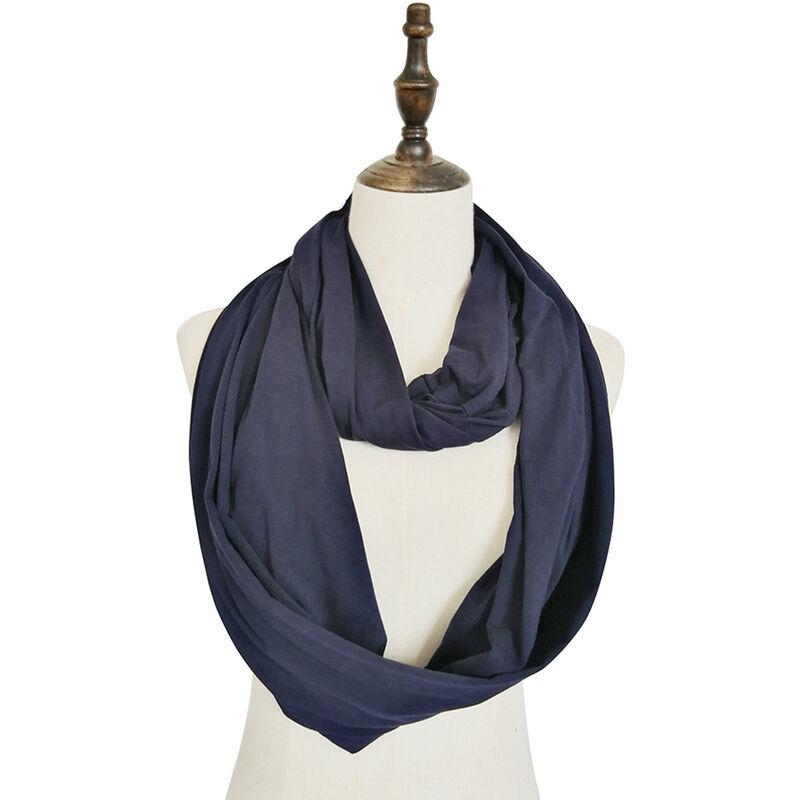 Image of Sciarpa ad anello tascabile con cerniera morbida Moda donna Autunno Inverno Sciarpe con anello circolare blu tinta unita Sciarpe da donna Infinity