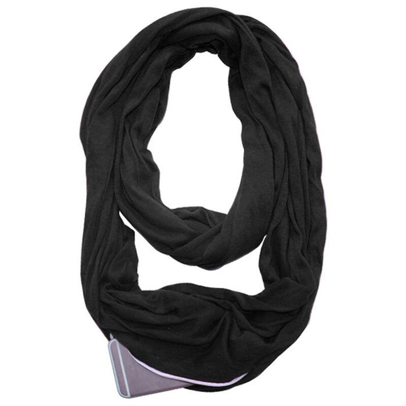 Image of Sciarpa ad anello morbida con cerniera tascabile moda donna autunno inverno caldo solido blu o anello sciarpe sciarpe da donna Infinity