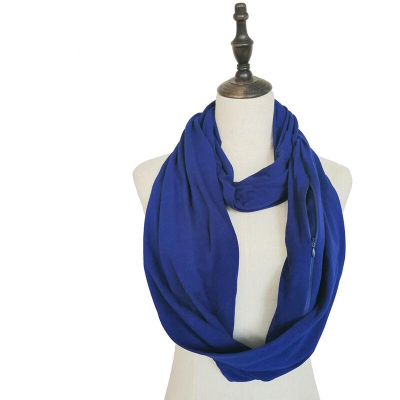 Image of Sciarpa ad anello morbida con cerniera tascabile moda donna autunno inverno caldo solido blu o anello sciarpe sciarpe da donna Infinity (blu