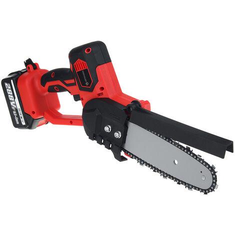 Scie à chaine électrique 288V Scie à chaine électrique sans fil (rouge, avec 2 Batterie)