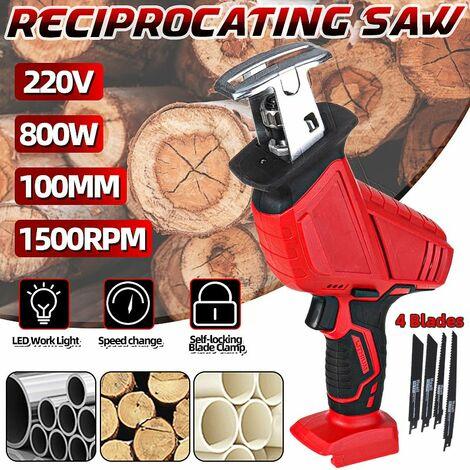 Scie alternative sans fil 220V 800W scie sabre électrique corps de coupe uniquement le travail du bois (batterie non incluse