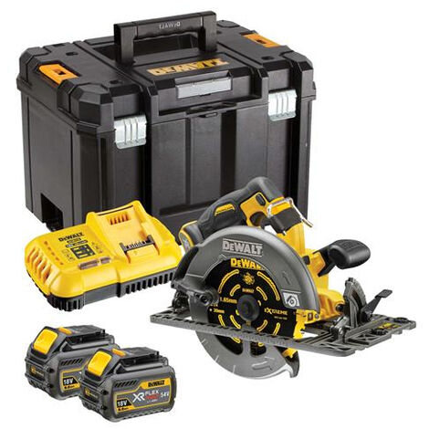 Scie circulaire 2.0 XR FLEXVOLT 54V 2Ah Li-Ion Brushless compatible rail de guidage DEWALT - 190mm - 2 batteries - coffret TSTAK - DCS579T2-QW