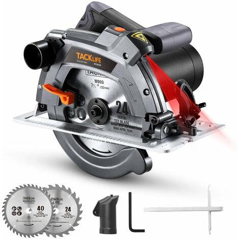 """Scie circulaire électrique TACKLIFE avec base en aluminium, 12,5 A, moteur puissant de 5000 tr/min avec coupes en biseau (0-45°), 2-3/5'' (0°), 1-7/10'' (45°), 2 Lames (7-1/4"""" et 7-1/2""""), règle d'échelle, guide laser - PES03A"""