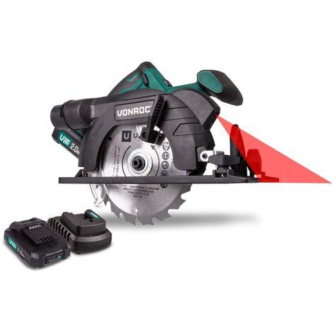 Scie circulaire sans fil VPower 20V, 2.0Ah – jeu complet avec 2 batteries, chargeur rapide, lame de scie, guide parallèle et un sac de rangement pratique