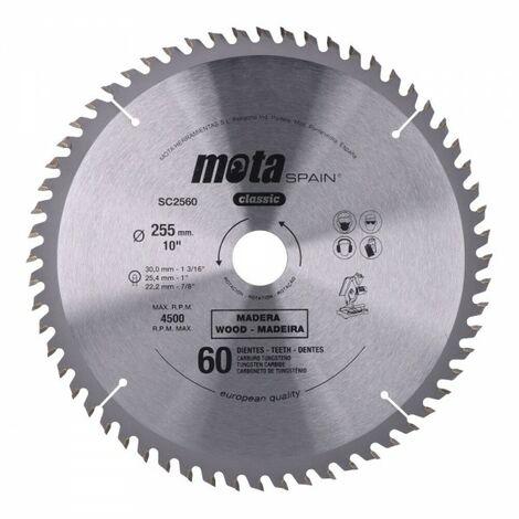Scie circulaire widia 255 mms. 40 dents. c/lp 18. sc2540