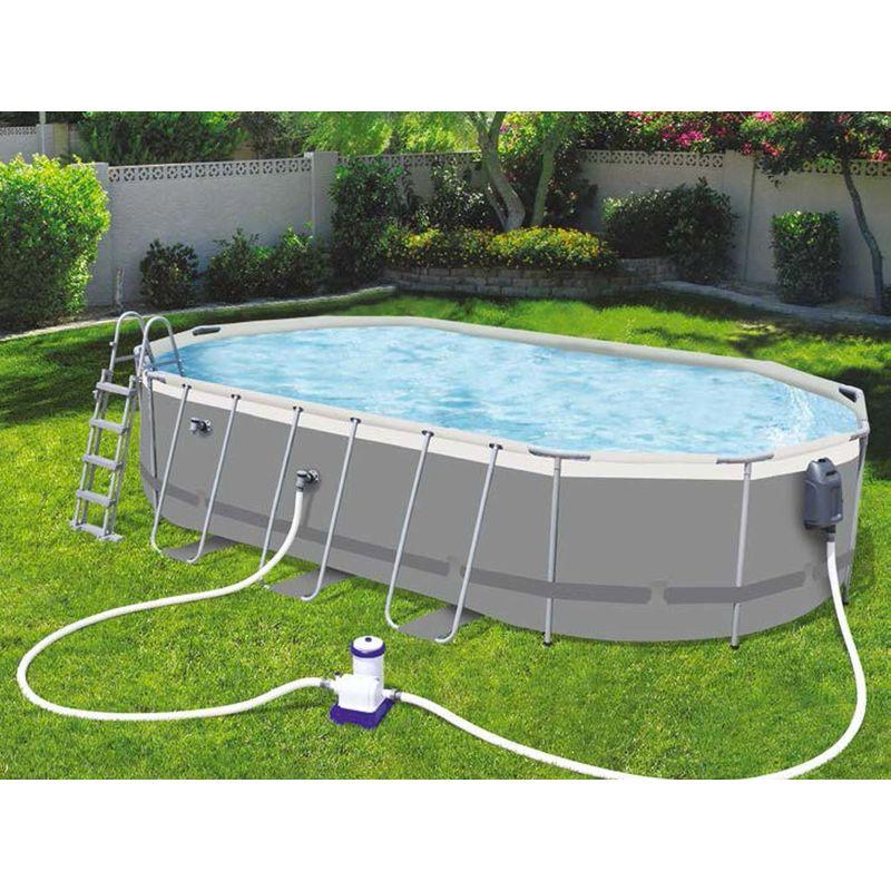 Kit piscine tubulaire POWER STEEL Comfort Jet ovale 610x366x122cm filtration cartouche - Bestway