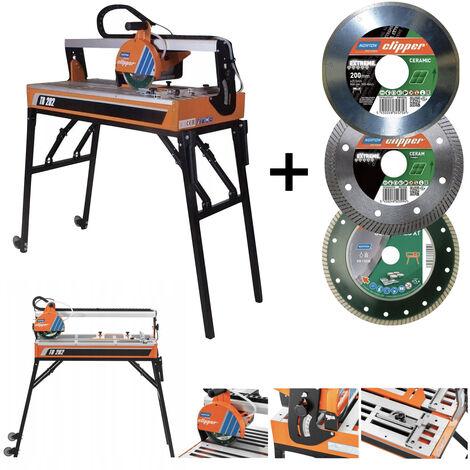 Scie de carrelage sur table Norton Clipper Ø 200 mm 900 W TR202 avec 3x disque diamant
