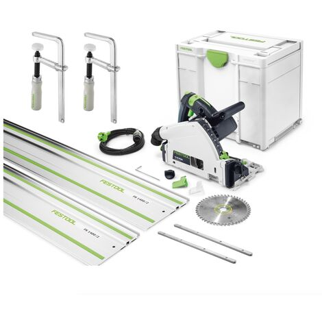 Festool TS 55 CAMP-SET Scie plongeante 1200 Watt + Coffret de transport Systainer + 2x Raccords + 2x Serre-joints + 2x Rails de guidage 1400 mm