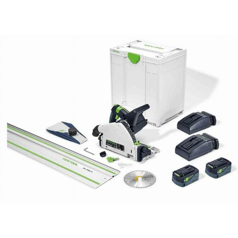 Scie plongeante sans fil FESTOOL TSC 55 5,2 KEBI-Plus/XL-FS - 2 batteries 18V, chargeur + Lame Ø160mm + Rail FS1400/2 - 577006