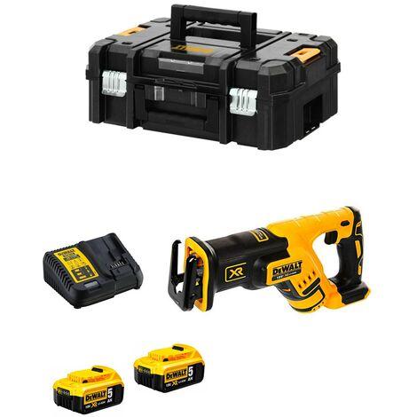 Scie sabre compacte DEWALT XR - 2 batteries 18V 5.0Ah, chargeur, coffret TSTAK II - DCS367P2