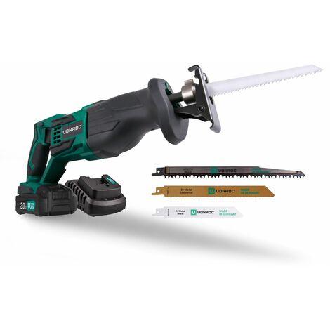 Scie sabre sans fil VPower 20V. 1 batterie 2.0Ah, chargeur rapide et 3 lames de scie (fabriquée en Allemagne) pour bois et métal