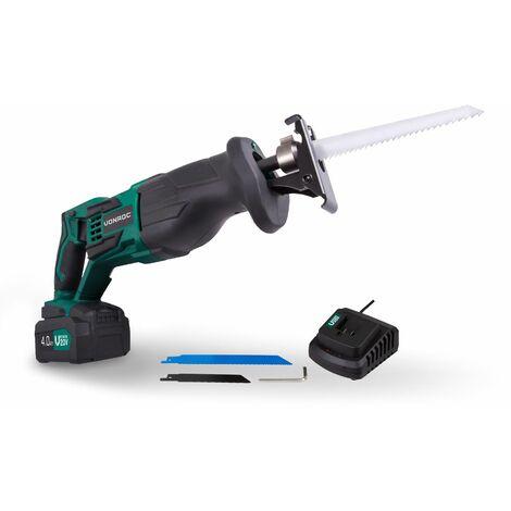 Scie sabre sans fil VPower 20V. 1 batterie 4.0Ah, chargeur rapide et 2 lames de scie (fabriquée en Allemagne) inclus