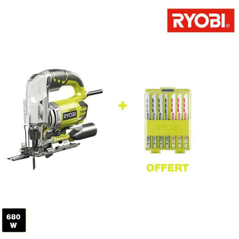 Scie sauteuse pendulaire électrique RYOBI 680W 105mm bois - 10 lames bois RJS1050-KA10