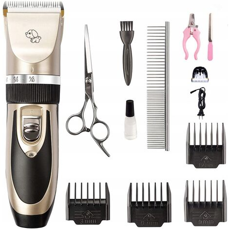 Scissors for dogs and cats, professional scissors for long-haired dogs, electric shaver for grooming dogs, rechargeable, with 12 cat accessories and dogs