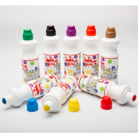 Scola CM75/8/AC Chubbie Paint Markers - Assorted Set of 8