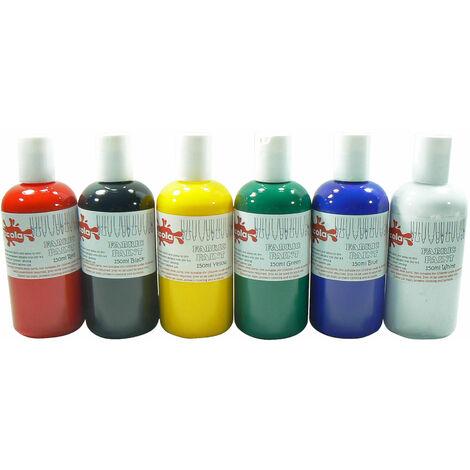 Scola FAB150/6A Fabric Paint, Standard Colours (6 x 150ml Bottles)