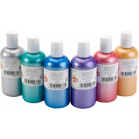 Scola FABP150/6/A Fabric Paint Pearl Colours (6 x 150ml Bottles)