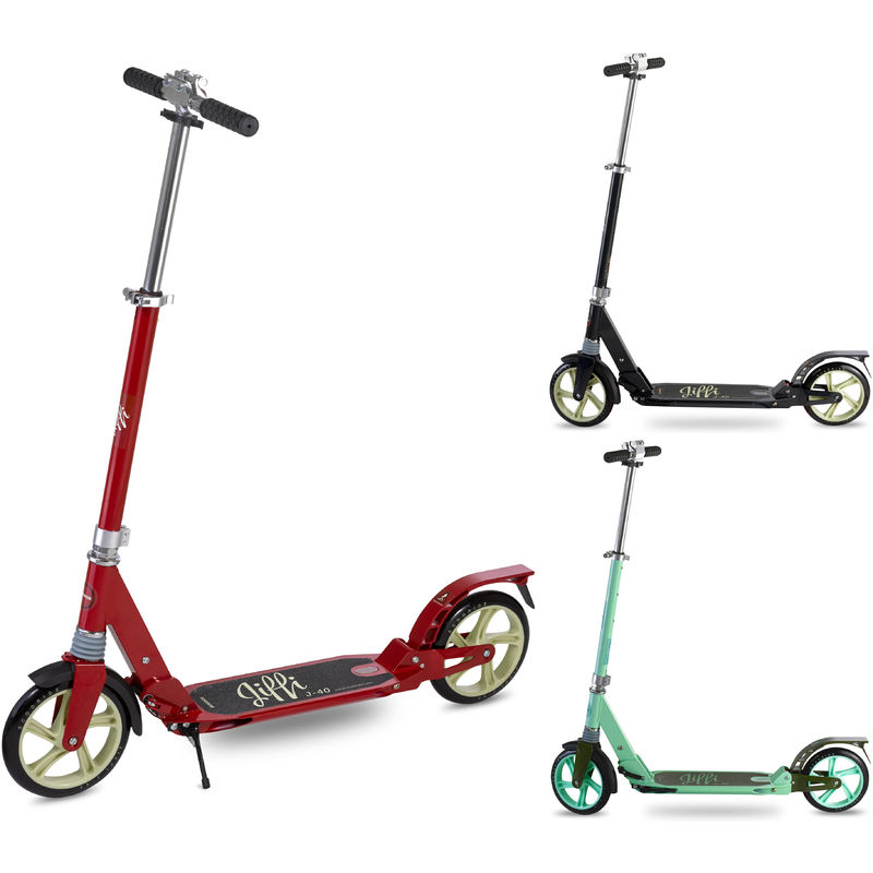 Jiffi J-40 Adult Folding Kick Scooter   Foldable & Portable Big Large Wheel Push Scooter / City Commuter with Adjustable Height for Teens and Adults