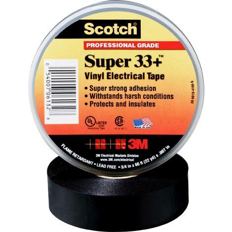 Scotch® Super 33+ vinyle ruban isolant électrique, noir, 19 mm x 33 m, 0,18 mm C051031
