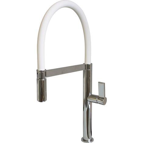 Scott & James - White pull down kitchen tap - Chrome and White