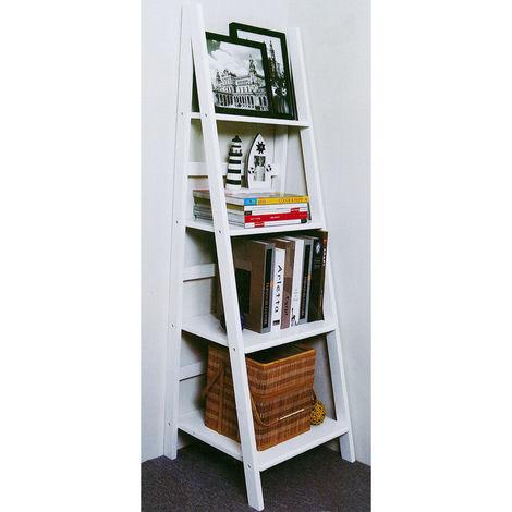 "main image of ""SCOTT - Ladder 4 Tier Gloss Storage / Display Shelves - White"""