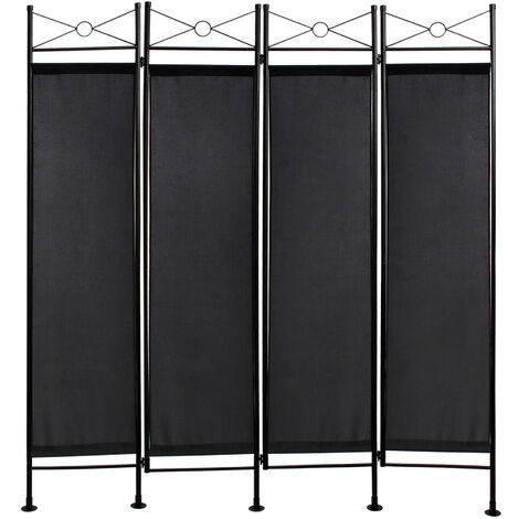 Screen Wall , Room Divider, 180 x 160 cm (70.9 x 63 inch), Black, Panel : 100% Polyester