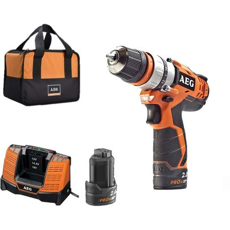 Screwdriver drill AEG 12V - 2 batteries 2.0Ah - 1 charger - BBS12C2LI-202BKIT3