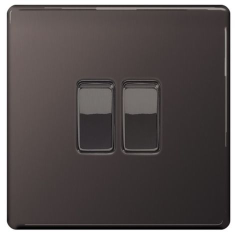 Screwless Flat Plate 10A Double Light Switch, Black Nickel Finish