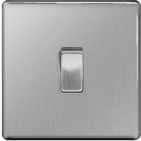 Screwless Flat Plate 10A Single Light Switch, Brushed Steel Finish