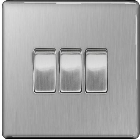 Screwless Flat Plate 10A Triple Light Switch, Brushed Steel Finish