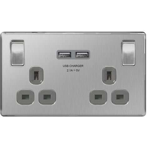 Screwless Flat Plate 13A Double Plug Socket with 2 x USB Charger, Brushed Steel Finish, Grey Inserts