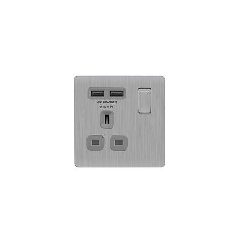 Screwless Flat Plate 13A Single Plug Socket with 2 x USB Charger, Brushed Steel Finish, Grey Inserts