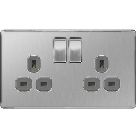 Screwless Flat Plate Double 13A Plug Socket, Brushed Steel Finish, Grey Inserts