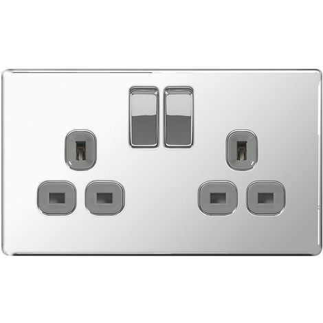 Screwless Flat Plate Double 13A Plug Socket, Polished Chrome Finish, Grey Inserts