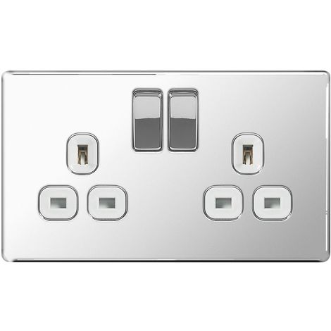 Screwless Flat Plate Double 13A Plug Socket, Polished Chrome Finish, White Inserts