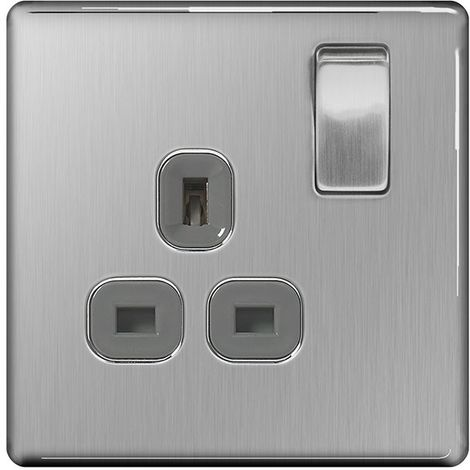 Screwless Flat Plate Single 13A Plug Socket, Brushed Steel Finish, Grey Inserts