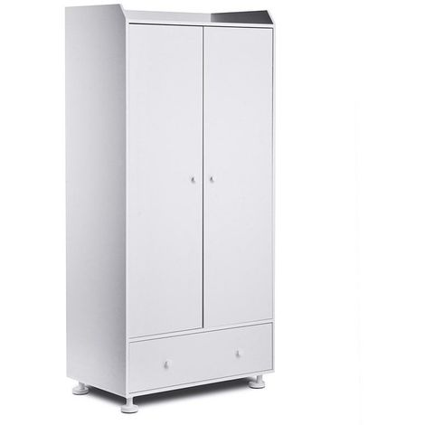 SCRIBO   Armoire meuble de rangement style scandinave   85x180x50 cm   Penderie   Rangements pratiques   Mobilier chambre enfant   Blanc - Blanc