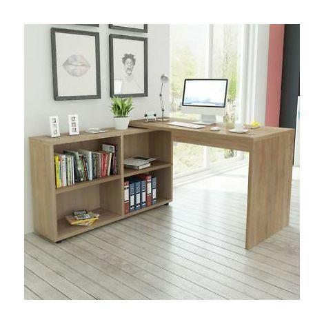 Scrivania angolare moderna con 4 scomparti scrivania ufficio color rovere