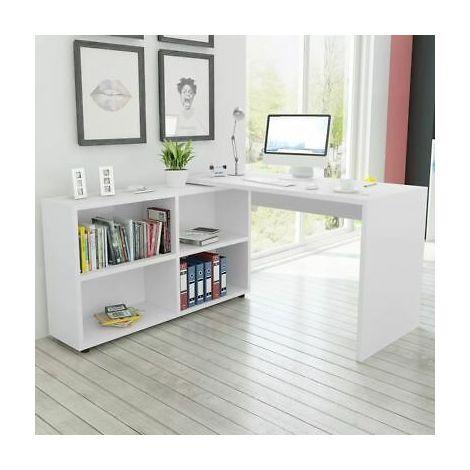 Libreria Angolare Con Scrivania.Scrivania Angolare Moderna Con Libreria E 4 Scomparti Bianca 243060