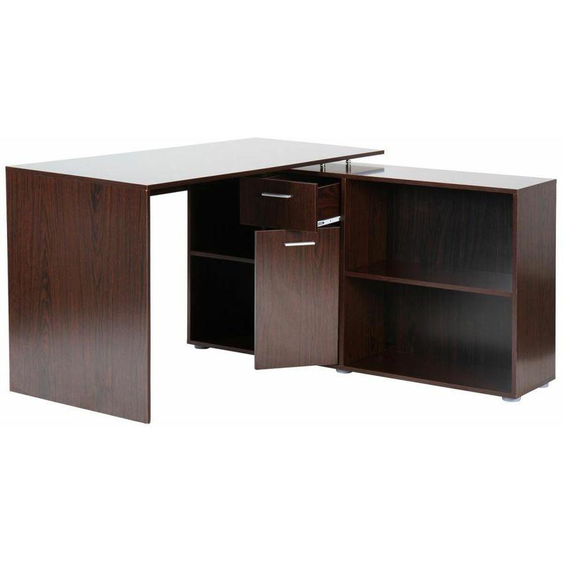Scrivania angolare pc ufficio moderna libreria con 4 scomparti e 2 ...