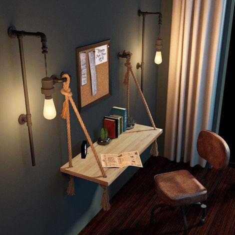 Scrivania Halatli - Decorativa, Sospesa - con Corda - da Parete, Studio, Salotto, Camera, Cameretta - Ecru in Legno, Iuta, 100 x 40 x 100 cm