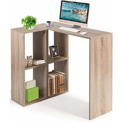 Scrivania Libreria Angolare Tavolo PC per Computer con 4 Scomparti, per Studio Ufficio, Legno