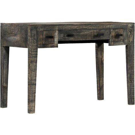 Scrivania Nera 110x50x75cm in Legno Massello di Mango