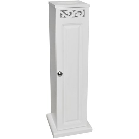 SCROLL - Panelled Toilet Roll / Tissue Holder / Storage Cupboard - White