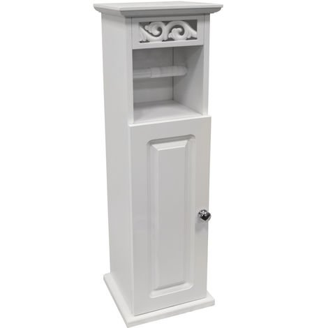 SCROLL - Toilet Roll Holder / Bathroom Storage Cupboard - White