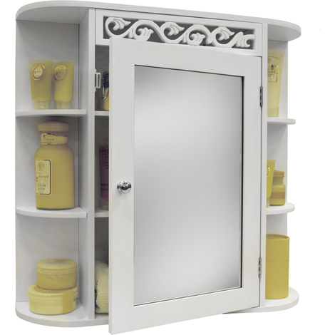 Scroll Wall Mounted Bathroom Mirror Storage Cabinet With Shelves White P 2739658 5435291 1 Jpg