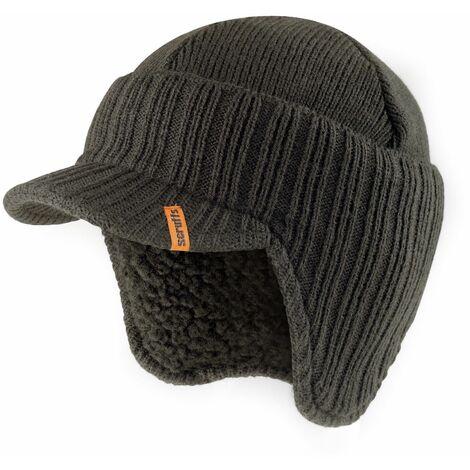 Scruffs Peaked Beanie Hat Graphite Grey Warm Winter Insulated Workwear